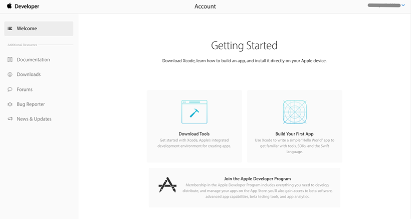Account registration in App Store