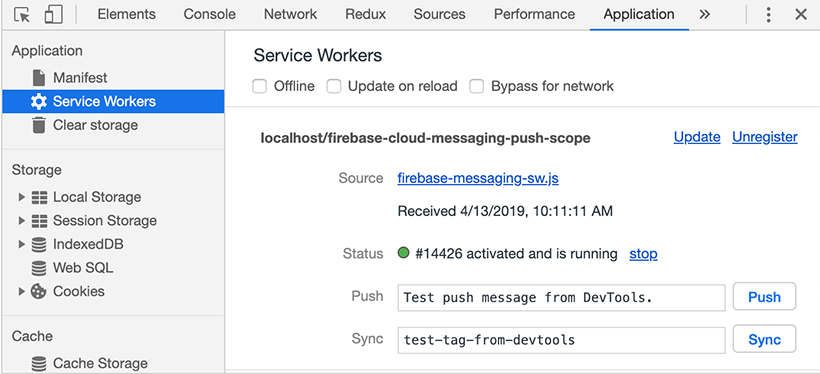 Firebase cloud messaging service worker registered